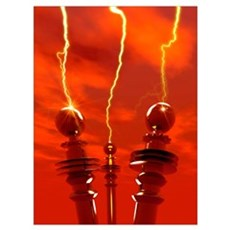 Tesla coils firing, artwork Framed Print