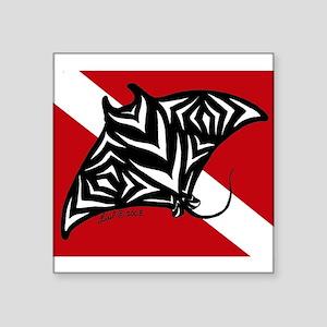 "hawaiian manta dive Square Sticker 3"" x 3"""