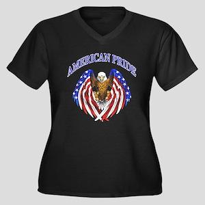 American Pride Eagle Women's Plus Size V-Neck Dark