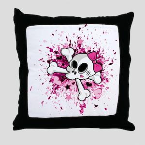 Girlie Skull Throw Pillow