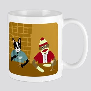 Boston Terrier & Sock Monkey Coffee Mug