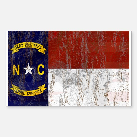 North Carolina Retro Flag Sticker (Rectangle)