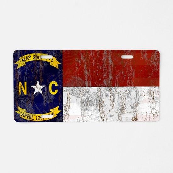 North Carolina Retro Flag Aluminum License Plate
