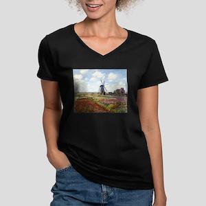 Monet Fields Of Tulip Women's V-Neck Dark T-Shirt
