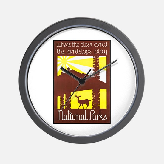 National Parks Travel Poster 3 Wall Clock