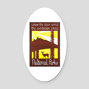 National Parks Travel Poster 3 Oval Car Magnet