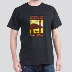 National Parks Travel Poster 3 Dark T-Shirt