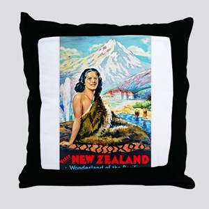 New Zealand Travel Poster 2 Throw Pillow