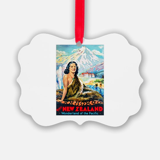 New Zealand Travel Poster 2 Ornament