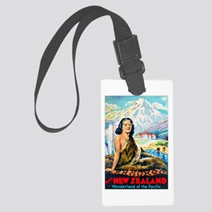 New Zealand Travel Poster 2 Large Luggage Tag