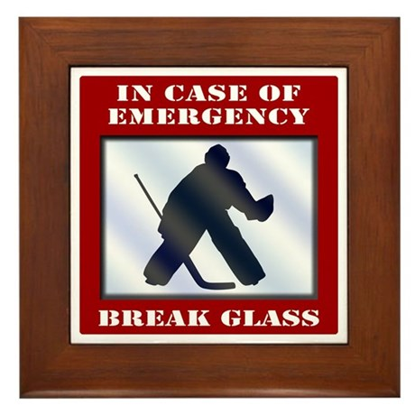 Emergency Hockey Goalie Framed Tile