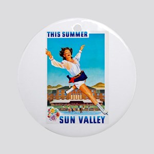 Sun Valley Travel Poster 1 Ornament (Round)