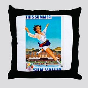 Sun Valley Travel Poster 1 Throw Pillow