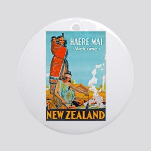 New Zealand Travel Poster 3 Ornament (Round)