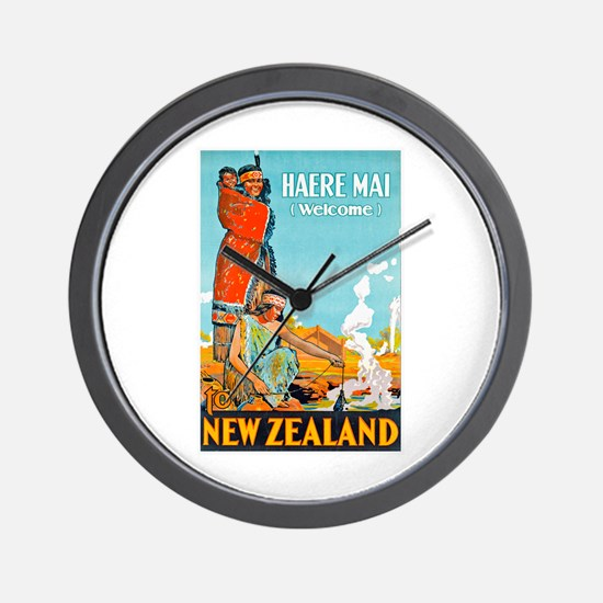 New Zealand Travel Poster 3 Wall Clock