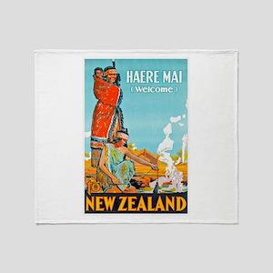 New Zealand Travel Poster 3 Throw Blanket