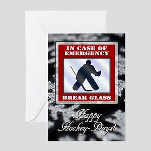 Emergency Hockey Goalie Holiday Greeting Cards