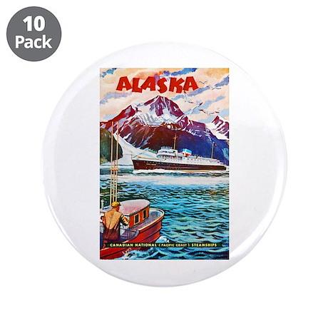 """Alaska Travel Poster 1 3.5"""" Button (10 pack)"""