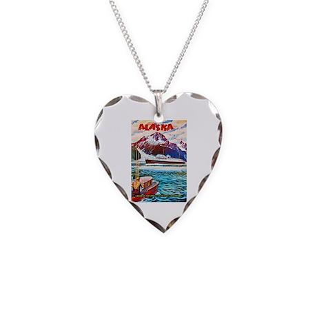 Alaska Travel Poster 1 Necklace Heart Charm