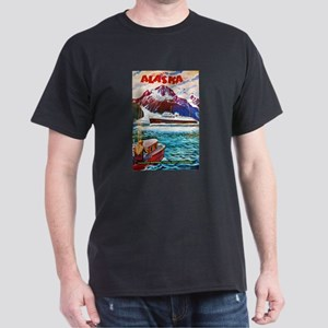 Alaska Travel Poster 1 Dark T-Shirt