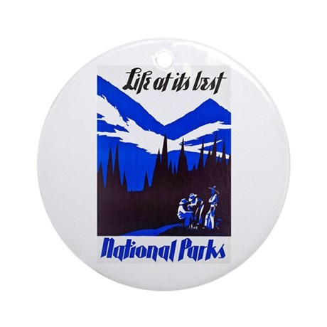 National Parks Travel Poster 4 Ornament (Round)