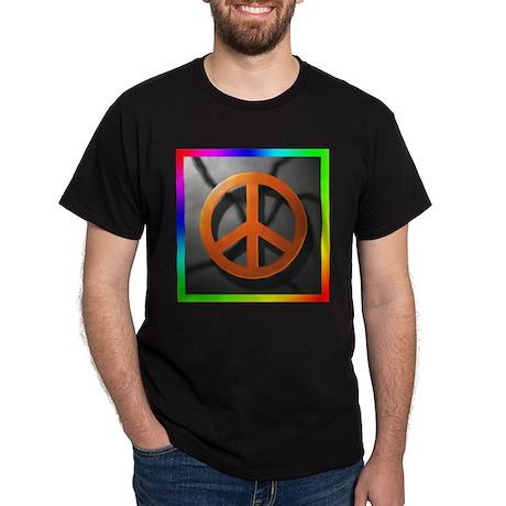 Peace Sign on Concrete Black T-Shirt