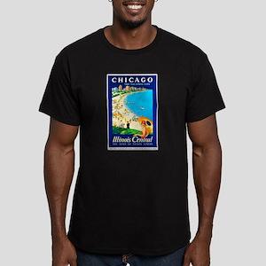 Chicago Travel Poster 1 Men's Fitted T-Shirt (dark