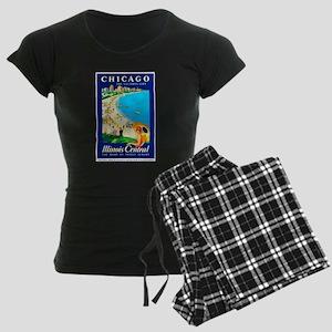 Chicago Travel Poster 1 Women's Dark Pajamas