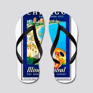 Chicago Travel Poster 1 Flip Flops