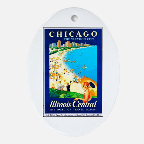 Chicago Travel Poster 1 Ornament (Oval)