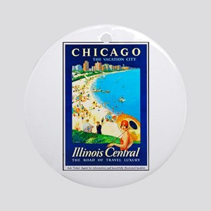 Chicago Travel Poster 1 Ornament (Round)
