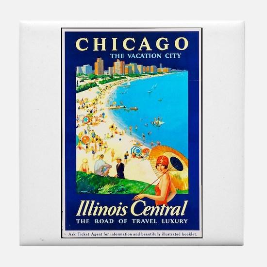 Chicago Travel Poster 1 Tile Coaster