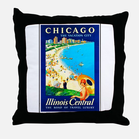 Chicago Travel Poster 1 Throw Pillow