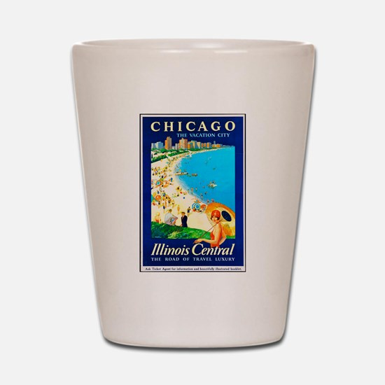 Chicago Travel Poster 1 Shot Glass