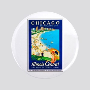 "Chicago Travel Poster 1 3.5"" Button"