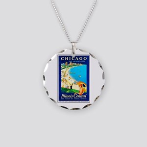 Chicago Travel Poster 1 Necklace Circle Charm