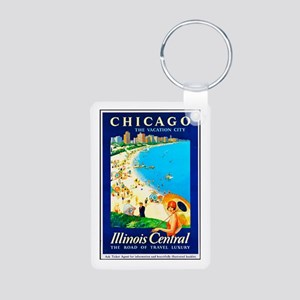 Chicago Travel Poster 1 Aluminum Photo Keychain