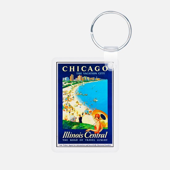 Chicago Travel Poster 1 Keychains