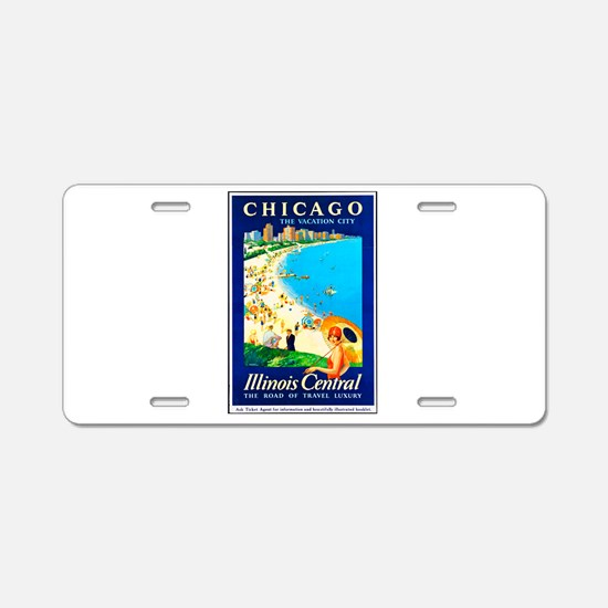 Chicago Travel Poster 1 Aluminum License Plate
