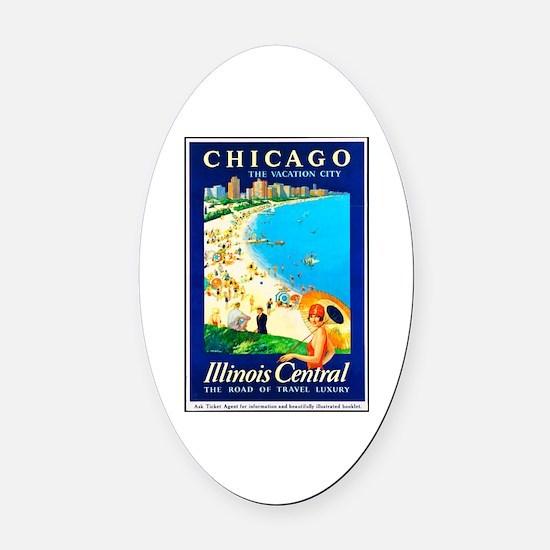 Chicago Travel Poster 1 Oval Car Magnet