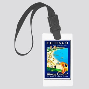 Chicago Travel Poster 1 Large Luggage Tag