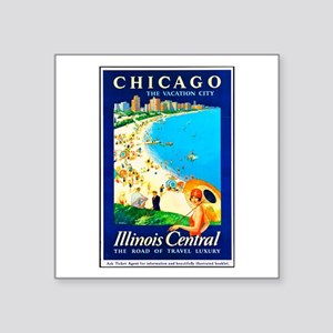 "Chicago Travel Poster 1 Square Sticker 3"" x 3"""