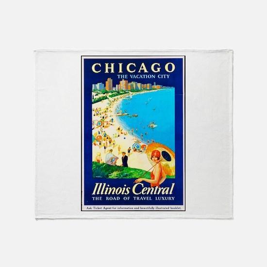 Chicago Travel Poster 1 Throw Blanket