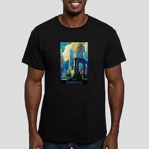 Chicago Travel Poster 3 Men's Fitted T-Shirt (dark