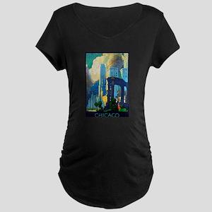 Chicago Travel Poster 3 Maternity Dark T-Shirt