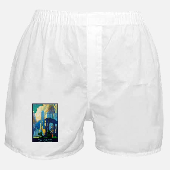 Chicago Travel Poster 3 Boxer Shorts