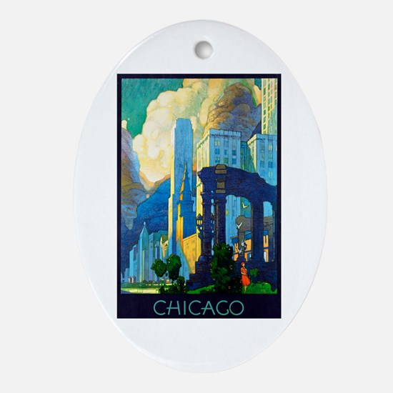 Chicago Travel Poster 3 Ornament (Oval)