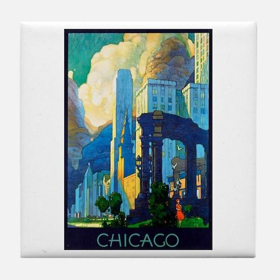 Chicago Travel Poster 3 Tile Coaster