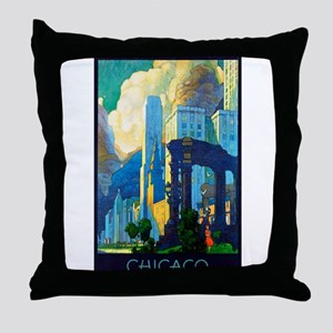 Chicago Travel Poster 3 Throw Pillow