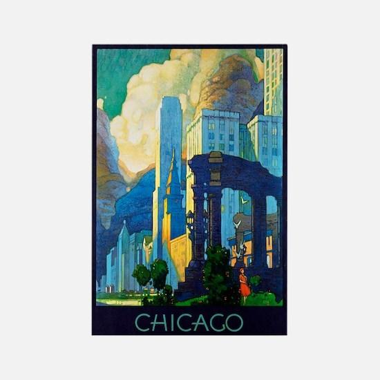 Chicago Travel Poster 3 Rectangle Magnet